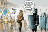 Карикатури західної преси щодо подій в Україні