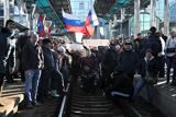 Проросійський мітинг у Донецьку. Марш вулицями міста та блокування залізничного вокзалу