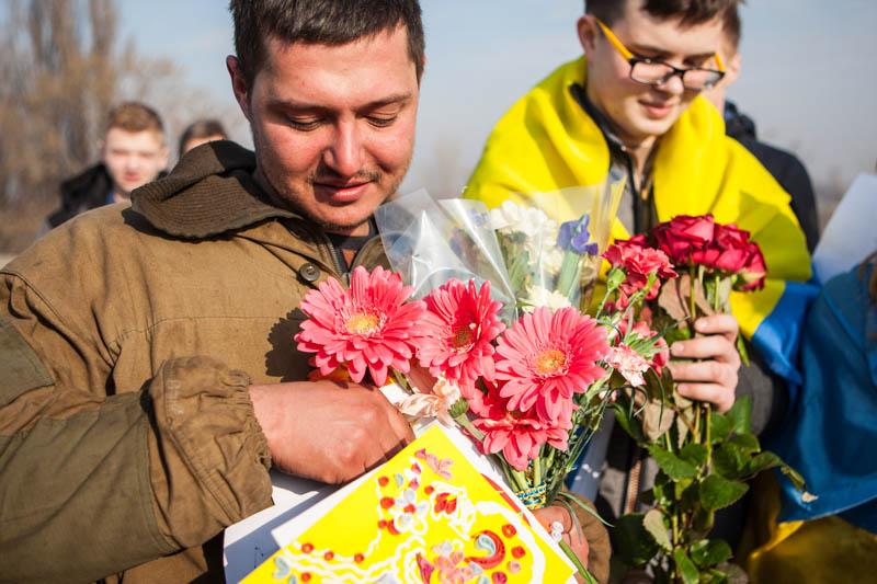 Кияни зустріли бійців 95-ї бригади, які поверталися до Житомира з зони АТО