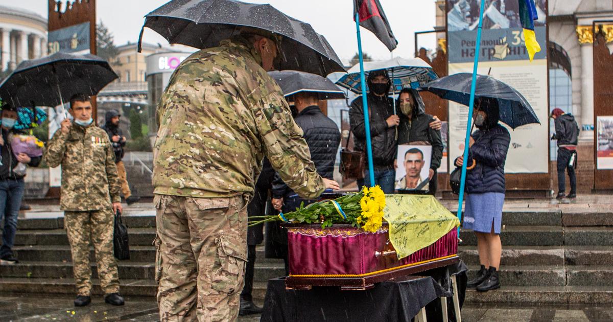 Прощання з ветераном Миколою Микитенком, який вчинив самоспалення на Майдані