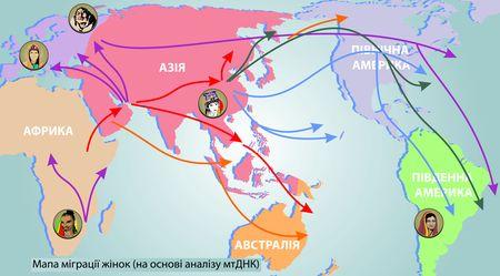 Мапа міграції жінок (на основі аналізу мтДНК)