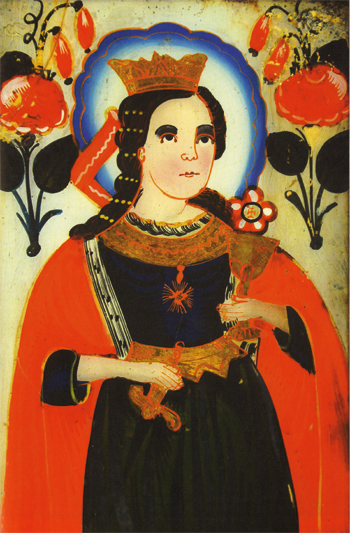 ICON OF ST. BARBARA THE GREAT MARTYR. Early 19th century, Transcarpathia. Likeness to real life is characteristic of modern Ukrainian iconography